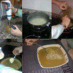 Noelia: SOPA DE VERDURAS. Ingredientes: Cocido de verduras sobrante, sal, fideos y agua. Preparación: Se bate el cocido de verduras que nos haya sobrado (de 1/2 ración escasa de verdura se puede sacar una sopa de verduras para cuatro) y se reserva. En una pota se ponen a cocer los fideos. Una vez cocidos, se echan las verduras batidas y se deja cocer 3 ó 4 minutos más. Se prueba de sal y se rectifica si es necesario. Opcionalmente, se puede echar un huevo batido al final.