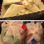 Silvia: Siempre hemos guardado en casa todas las bolsas de plástico y papel que llegan a nuestro poder, para reutilizarlas. Habitualmente, usamos las de plástico para meter los envases que van al contenedor amarillo.