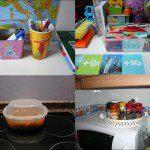 Javier: En casa aprovechamos muchos recipientes para la comida o para ordenar las cosas. En la foto veis como utilizamos un envase de pollo asado como tupper (tenemos unos cuantos y son de lo más útil!); un vaso de un espectáculo como bote de lápices; una bandeja de mazapanes como especiero; y una caja de bombones y un bote de regalices para los colores. Lo de los recipientes de regalices y gominolas nos lo recomendó una maestra del cole. Como tenemos acceso a ellos al tener un familiar que trabaja en un kiosko, suministramos a la clase una buena cantidad de ellos.