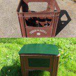 Mª Lidia: Recogí varias cajas de vino tiradas y las convertí en taburetes para el jardín.