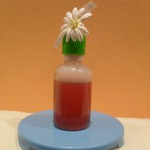 Mª Jesús: Aceite de hipérico. Hecho en casa macerando aceite de oliva con flores recolectadas de Hierba de San Juan. El frasco es de unas gotas de mi abuela y la flor reciclada proviene de otro regalo.